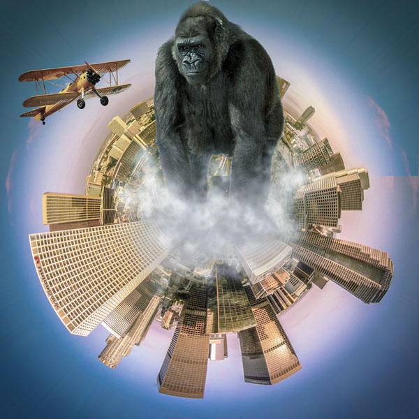 Kong, the new king of LA in photoshop