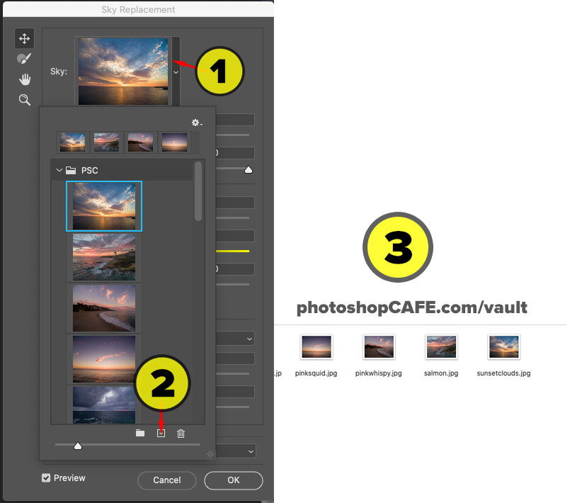 Free sky pack for Photoshop sky replacement