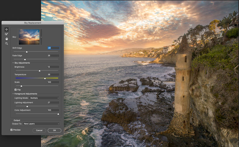 changing the sky in a photo using Photoshop