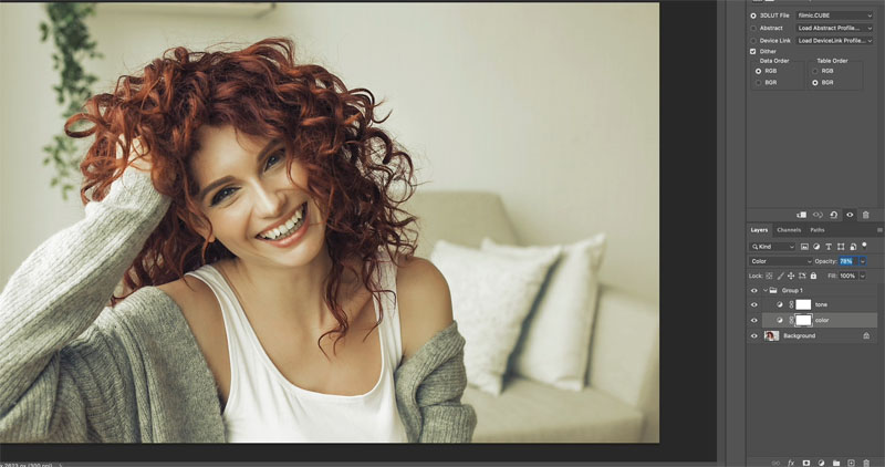 Adjust a LUTs color in photoshop
